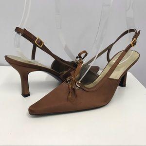 Stuart Weitzman Copper Silk Evening Shoes SZ 8 1/2